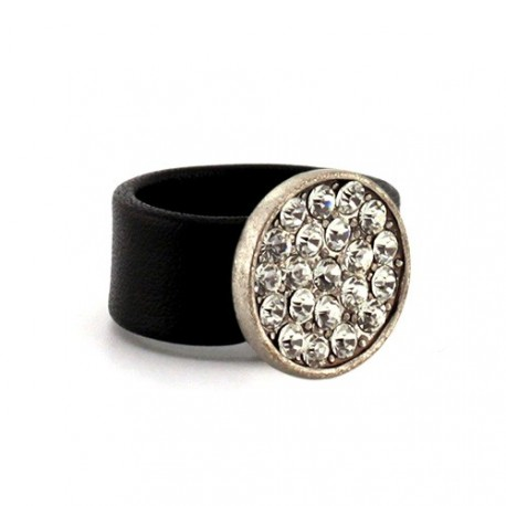 Full Sophie Ring - Black | Flat leather ring with swarovskis by MAR BCN