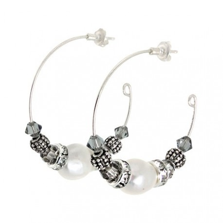 Hoop Pearl Earrings | Metal Hoop earrings with pearl, crystals and swarovskis by MAR BCN