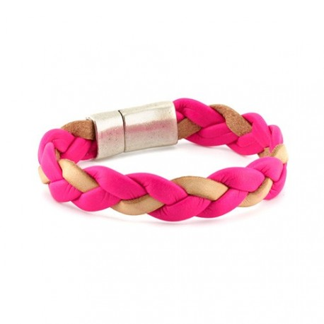 Fluor Braided Bracelet - Pink | Flat braided leather bracelet by MAR BCN