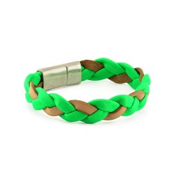 Fluor Braided Bracelet - Green | Flat braided leather bracelet by MAR BCN