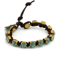 Brown Mar Bracelet - Aqua | Leather bracelet with swarovskis strass by MAR BCN