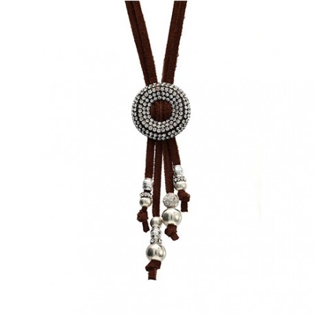 Brown Praga Necklace | Leather necklace with metal swarovskis clasp by MAR BCN