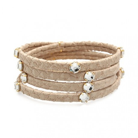 Hamptons Snake 4V Beige | Snake leather bracelet with swarovskis by MAR BCN