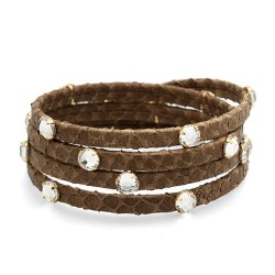 Hamptons Snake 4V Kaki | Snake leather bracelet with swarovskis by MAR BCN