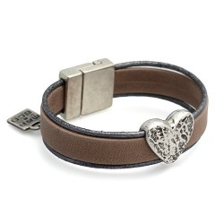 Silver Zagreb Beige | Leather bracelet with metal heart by MAR BCN