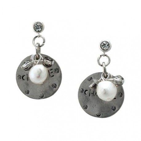 Silver Pisa | Earrings with metal medal, pearl and crystals by MAR BCN