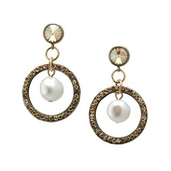 Golden World | Earrings with a ring and swarovskis by MAR BCN
