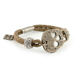 Silver Berlín Bracelet - Beige | Leather bracelet with metal skull by MAR BCN
