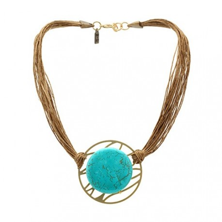Tulum Necklace | Linen Necklace with a turquoise on a golden medal by MAR BCN