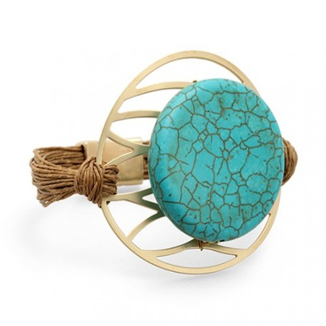 Tulum Bracelet | Linen bracelet with a turquoise on a golden medal by MAR BCN