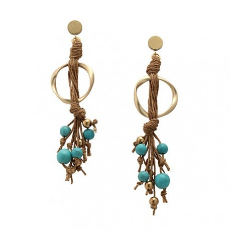 Tulum Earrings - Turquoises | Linen earrings with golden ring and turquoises hanging by MAR BCN