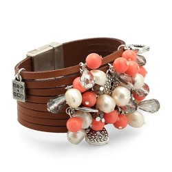 Xcaret Bracelet - Coral | Wide leather bracelet with pearls, minerals and hearts by MAR BCN