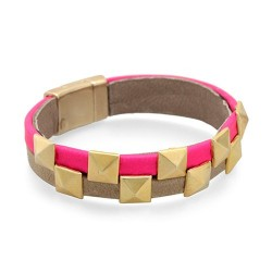 Bicolor Fluor bracelet - Pink | Bicolor fluor leather bracelet with golden studs by MAR BCN