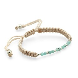 Biscayne Bay Bracelet - Green Mint | Macrame bracelet with minerals and silver beads by MAR BCN