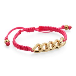 Palm Beach Bracelet Macrame - Fluor Pink | Macrame bracelet with golden chain by MAR BCN