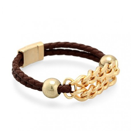 Palm Beach Braided - Brown | Braided leather bracelet with a golden chain by MAR BCN