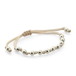 Key West Bracelet Beige Macrame With Several Silver Beads By Mar Bcn