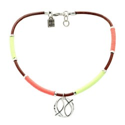 Vallarta Necklace | Leather necklace with fluor thread by MAR BCN