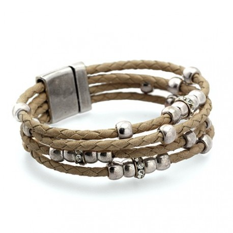 Charlotte Bracelet - Beige | Braided Leather bracelet with silvered beads and swarovskis by MAR BCN