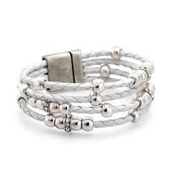 Charlotte Bracelet - White | Braided Leather bracelet witg silvered beads and swarovskis by MAR BCN