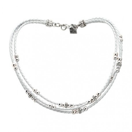 Charlotte Necklace - White | Brided leather necklace with silvered beads and swarovskis by MAR BCN