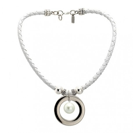 Moon Necklace - White | Braided leather necklace with pearl and silvered medal by MAR BCN